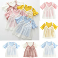 Infant Kids Baby Girl Princess Lace Tulle Short Sleeve Mini Dress Outfit Clothes