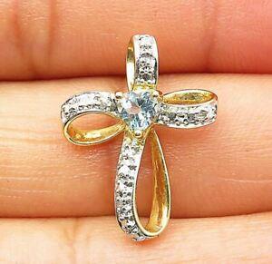 925 Silver - Petite Aquamarine Gold Plated Swirl Religious Cross Pendant - P6012