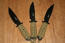 """3 NEW 7.5"""" STAINLESS STEEL PARA CORD HANDEL TACTICAL THROWING KNIVES SERVILE"""