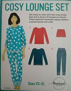 Threadcount Cosy Lounge Set Pyjamas Sewing Pattern TC1910 XS-XL