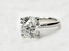 4 Carat Round Cut D VS2 Diamond Solitaire Engagement Ring 14k White Gold