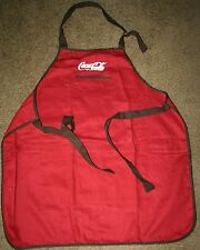 """Coca Cola Inspired "" Adult Red Apron Brown Trim w/white thread embroidered"