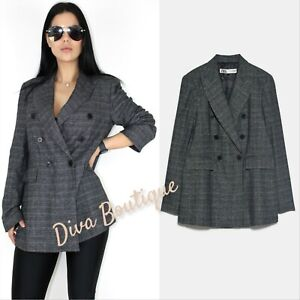 Zara AW 2019/20 Double Breasted Checked Blazer Size L Free P&P NEW