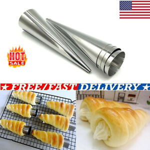 10PCS Steel Pastry Cream Horn Molds Conical Cone Mould Baking Tools US