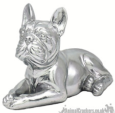 More details for silver art laying french bulldog figure ornament decoration frenchie lover gift