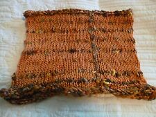 "Hand Knit Rust & Variegated Brown Striped Cowl Scarf Thick Edging 10"" x 12"""