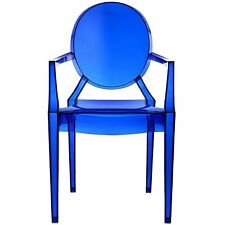 Blue Clear Plastic Arm Chair 1Pc In Out Door Stackable Dining Seat Furniture