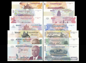 Cambodia Set 7 Pcs, 50 100 500 1000 2000 5000 10000 Riels,Uncirculated