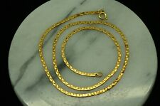 "15"" YELLOW GOLD FILLED SHINY SNAKE LIKE CHAIN SPRING RING CLASP NECKLACE"