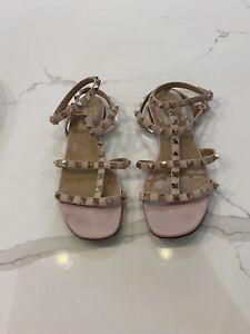 Valentino Garavani Pink Rockstud Gladiator Sandals/38/UK 5/RRP £580