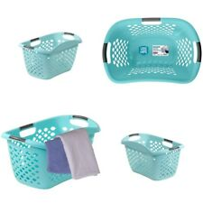 Laundry Plastic Basket Hamper Hip-Hugging Design Comfortable Durable
