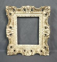 """Vintage Mid C Baroque Style White Gold Painted Ornate Picture Frame Fits 5"""" x 4"""""""