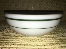 PYREX Double Tough #12 chili soup bowl white milkglass green bands vintage dish