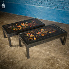 More details for pair of vintage hand painted chinese lacquered coffee tables