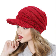 Women Beret Winter Warm Visor Baggy Beanie Knitted Crochet Hat Slouch Ski Cap