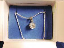 "2002 Avon Solitaire Cubic Zirconium Necklace 18"" Silver Chain New Mint in Box"