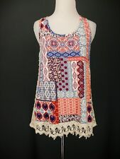 EYESHADOW Top L Red Blue Ivory Knit Tank Crochet Trim NEW NWT Boho