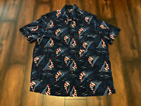 GEORGE ALOHA SHIRT HAWAIIAN RAYON RED WHITE BLUE USA FLAG SAILING SAILBOAT SZ L