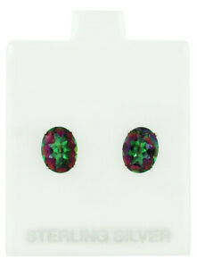 MYSTIC TOPAZ  5.62 Cts STUD EARRINGS 925 STERLING SILVER * New With Tag**