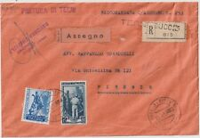 ITALIA 1953 60LAGRICOLTURA SU RACCOMANDATA ATTO GIUDIZIARIO CON ASSEGNO DA TERNI