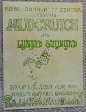 RARE Tom Petty MUDCRUTCH & LYNYRD SKYNYRD Handbill 1971