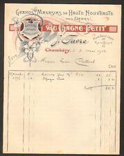 "CHAMBERY (73) VETEMENTS pour DAMES *AU GAGNE PETIT* ""J. FAVRE"" en 1913"