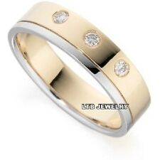 MENS 10K TWO TONE GOLD  DIAMOND WEDDING BAND RING  6MM