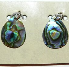 P575h South Pacific Paua Abalone Shell 20x15mm Flat Teardrop Pendant Beads 2/pkg