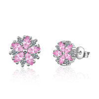 Women's Elegant 925 Sterling Silver Pink Zircon Cherry Blossoms Stud Earrings