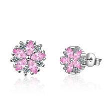 Sweet Elegant 925 Sterling Silver Pink Zircon Cherry Blossoms Stud Earrings Gift