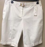 Charter Club Womens Bermuda Shorts Classic Fit Tummy Slimming White Size 16