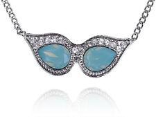 Masquerade Mask Alien Sunglasses Blue Opal New Crystal Rhinestone Necklace