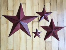"Set of 4 ~ BURGUNDY BLACK BARN STARS 18"",12"",8"",5"" PRIMITIVE RUSTIC COUNTRY"