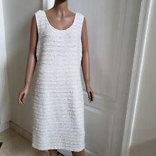 NEW ST.JOHN BEAUTIFUL BOUCLE TWEED FRAY DRESS ( BIANCO/CAVIAR) SIZE- 16
