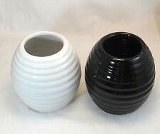 Black White Set 2 Ceramic Flower Vase Clay Home Decor Round Vase Pot
