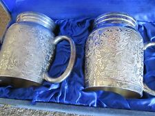 Antique Cordial Cups Goblets w/ handles Silver Plated Presentation Velour Case
