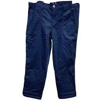 Womens Style & co Capri Pants Casual Utility Mid Rise Sz 8 Navy Blue Cotton NWT