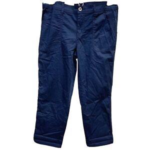 Womens Style & co Capri Pants Casual Utility Mid Rise Sz 4 Navy Blue Cotton NWT