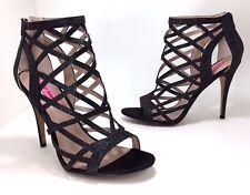 New Betsey Johnson size 8.5 Juliette Black Glitter Caged Stiletto High Heels