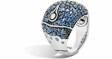 John Hardy Bamboo Sterling Silver Lava Dome Ring With Black Sapphires - Size 7