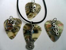 Abalone-Muschel Zelluloid Gitarre Plektrum Anhänger Leder Halskette 4