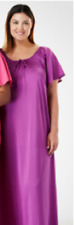 ONLY NECESSITIES Berry Purple LONG TRICOT No Cling GOWN Nightgown 5X 38W-40W New