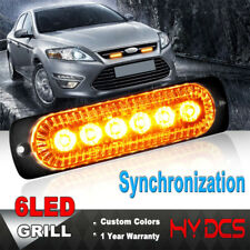 6 LED Amber Yellow Emergency Beacon Warning Flash Sync Strobe Grille Lights Lamp