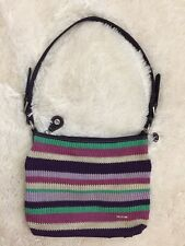 THE SAK Women's Purple Multi Striped Crochet Knit Zip Closure Shoulder Bag Purse