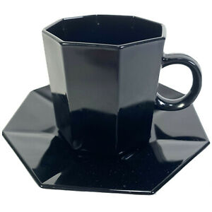Vtg 80s Octagon Coffee Cup And Saucer Duo High Gloss Black Tempered Glass France