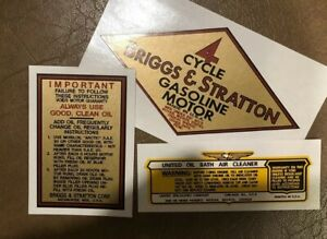 Briggs /& Stratton Number Series 9 19 14 23 decal set With B/&S Oil Bath of 3