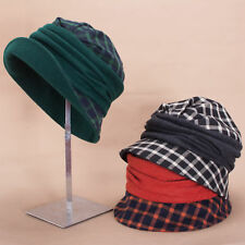 b5879b467b5 Women 1920s Flapper Retro Style Tartan Plaid Wool Blend Cloche Bucket Hat  A501