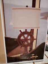 J Hunt Nautical Ships Wheel Table 3-way Lamp Welcome Aboard Faux Redwood NEW 100