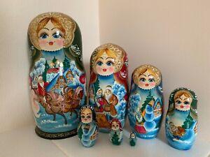 "Nesting Doll Matryoshka 9"" 7 Pc Russian Winter Christmas Painted Wooden"