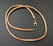 """18k Yellow Gold Rose Copper Silk Cord 2.5mm Necklace 16"""" Free Shipping G337"""